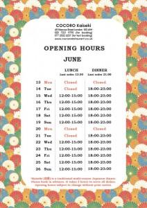 COCORO Kaiseki (Bayswater) Opening Hours of June
