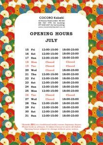 COCORO Kaiseki (Bayswater) Opening Hours of July