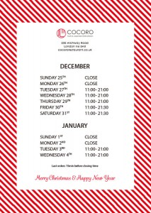 COCORO Christmas & New Year Holidays