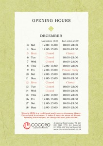 COCORO Kaiseki (Bayswater) Opening Hours