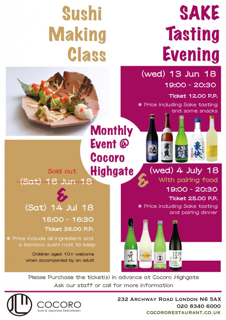 Sushi Making Class and Sake Tasting Evening in July