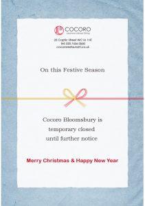 COCORO Christmas & New Year Holidays 2020-21